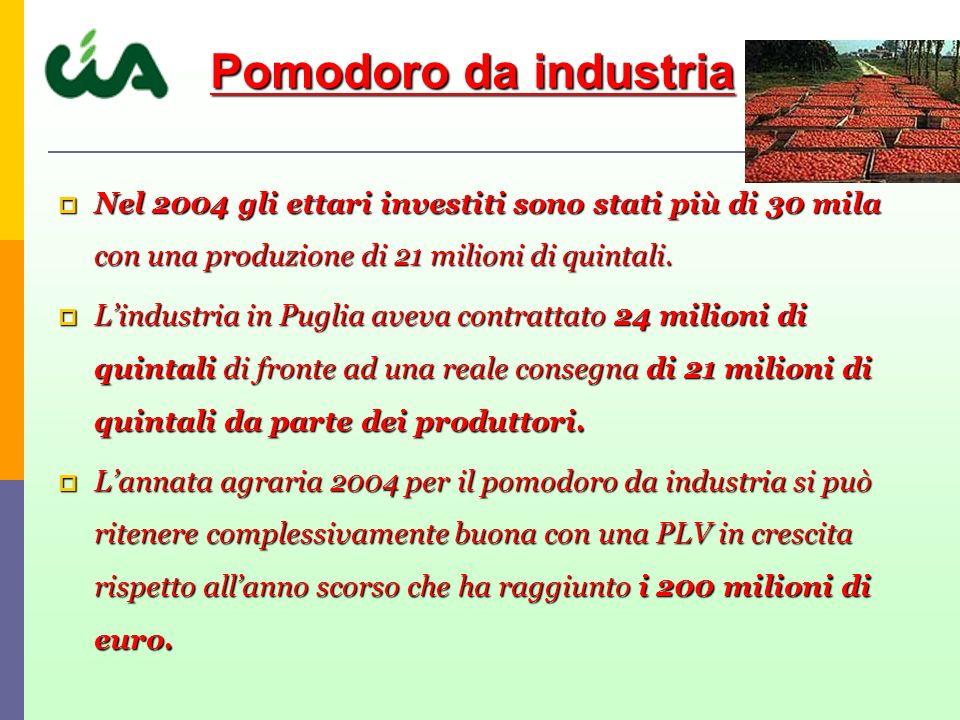 Nel 2004 gli ettari investiti sono stati più di 30 mila con una produzione di 21 milioni di quintali.