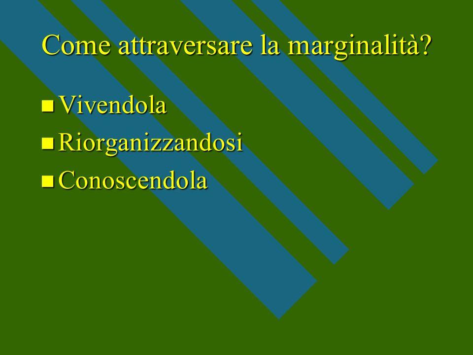 Come attraversare la marginalità? Vivendola Vivendola Riorganizzandosi Riorganizzandosi Conoscendola Conoscendola