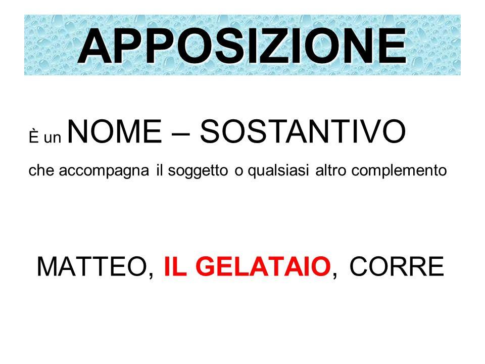 APPOSIZIONE MATTEO, IL GELATAIO, CORRE È un NOME – SOSTANTIVO che accompagna il soggetto o qualsiasi altro complemento