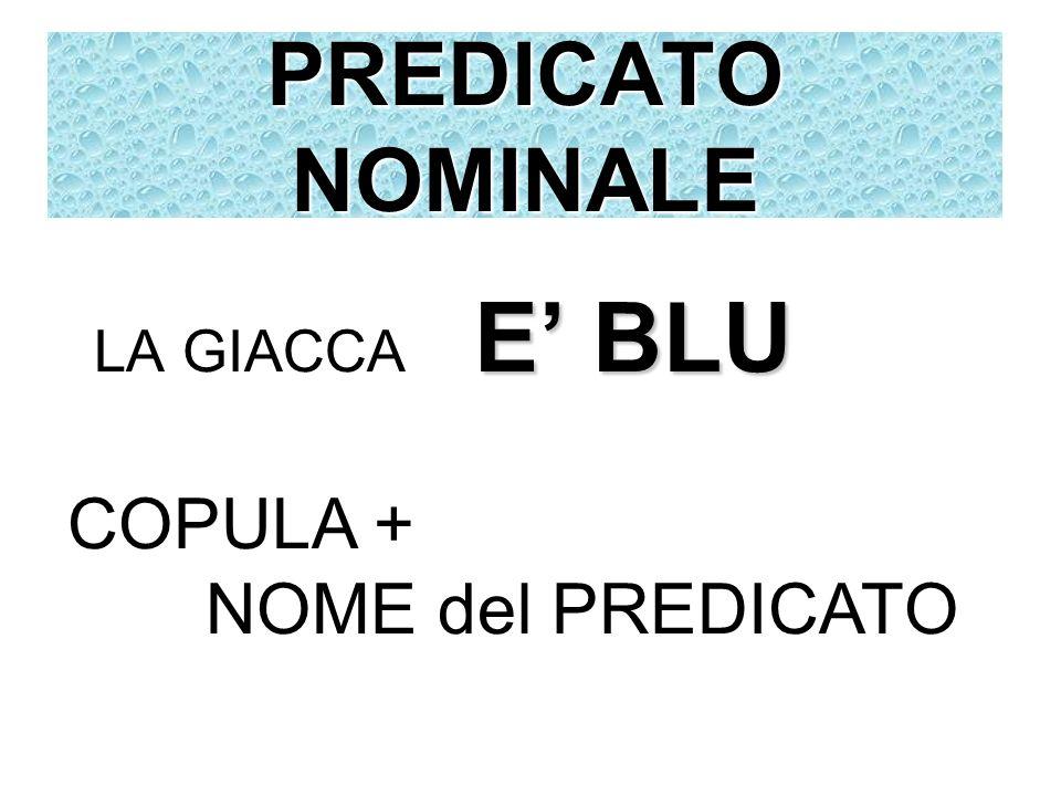 PREDICATO NOMINALE E BLU LA GIACCA E BLU COPULA + NOME del PREDICATO