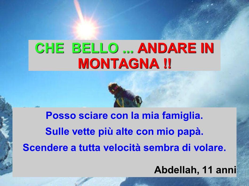 CHE BELLO... ANDARE IN MONTAGNA !! Posso sciare con la mia famiglia. Sulle vette più alte con mio papà. Scendere a tutta velocità sembra di volare. Ab