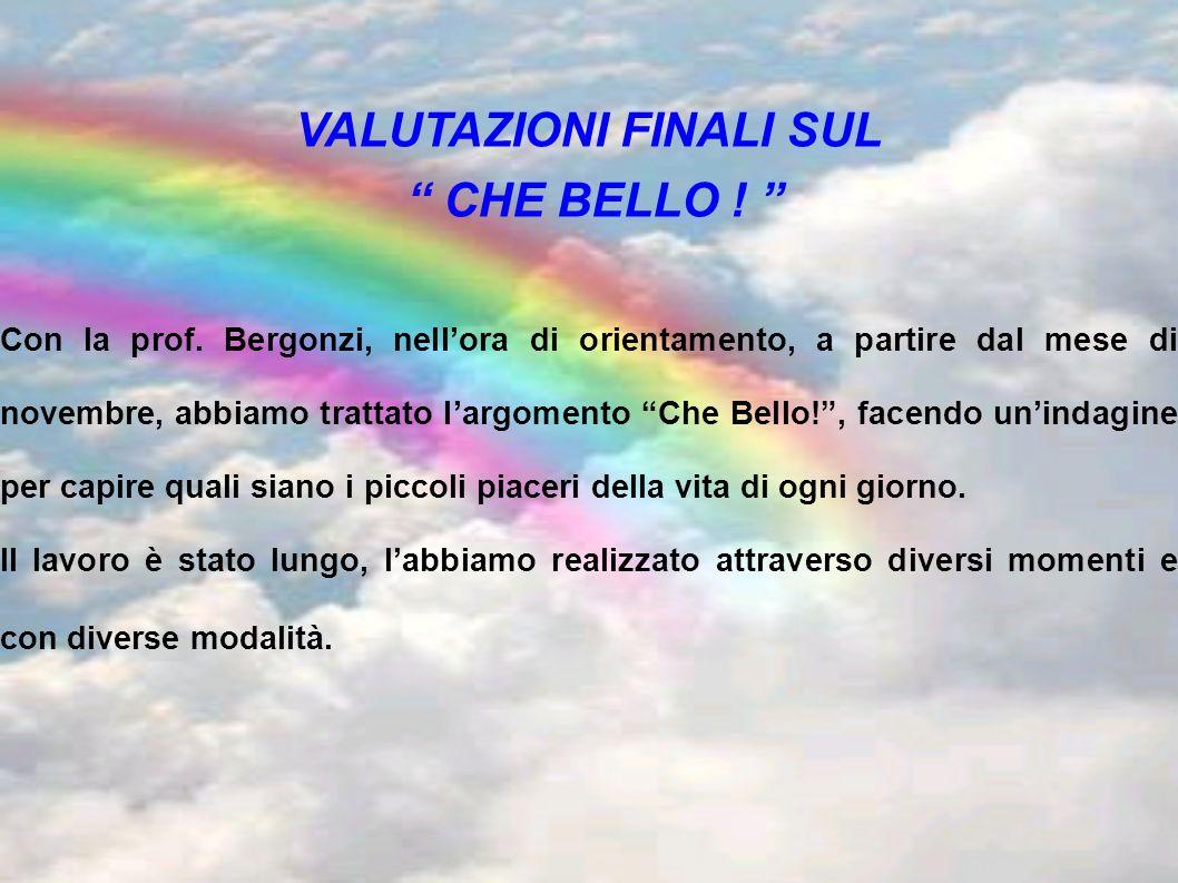 VALUTAZIONI FINALI SUL CHE BELLO ! Con la prof. Bergonzi, nellora di orientamento, a partire dal mese di novembre, abbiamo trattato largomento Che Bel