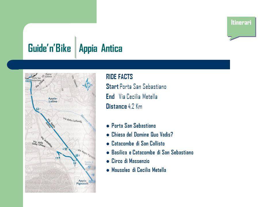 GuidenBike Appia Antica RIDE FACTS Start Porta San Sebastiano End Via Cecilia Metella Distance 4,2 Km Porta San Sebastiano Chiesa del Domine Quo Vadis.