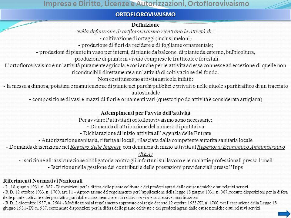 Impresa e Diritto, Licenze e Autorizzazioni, Ortoflorovivaismo Definizione Nella definizione di ortflorovivaismo rientrano le attività di : - coltivaz