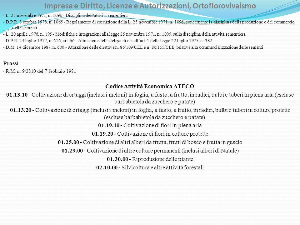 Impresa e Diritto, Licenze e Autorizzazioni, Ortoflorovivaismo - L. 25 novembre 1971, n. 1096 - Disciplina dellattività sementiera - D.P.R. 8 ottobre