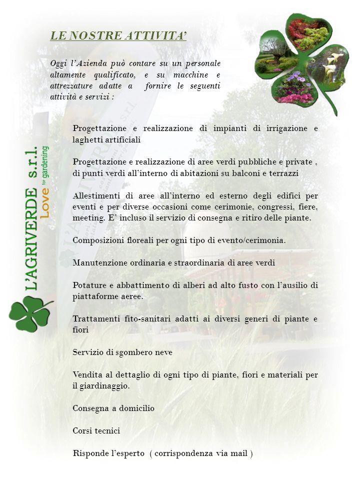 Agriverde, conta un parco macchine e attrezzature, adatti a svolgere tutte le attivita sia di manutenzione che di realizzazione di giardini e aree verdi.