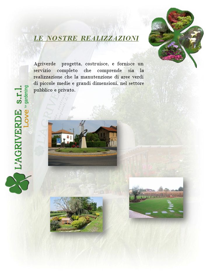 Agriverde progetta, costruisce, e fornisce un servizio completo che comprende sia la realizzazione che la manutenzione di aree verdi di piccole medie