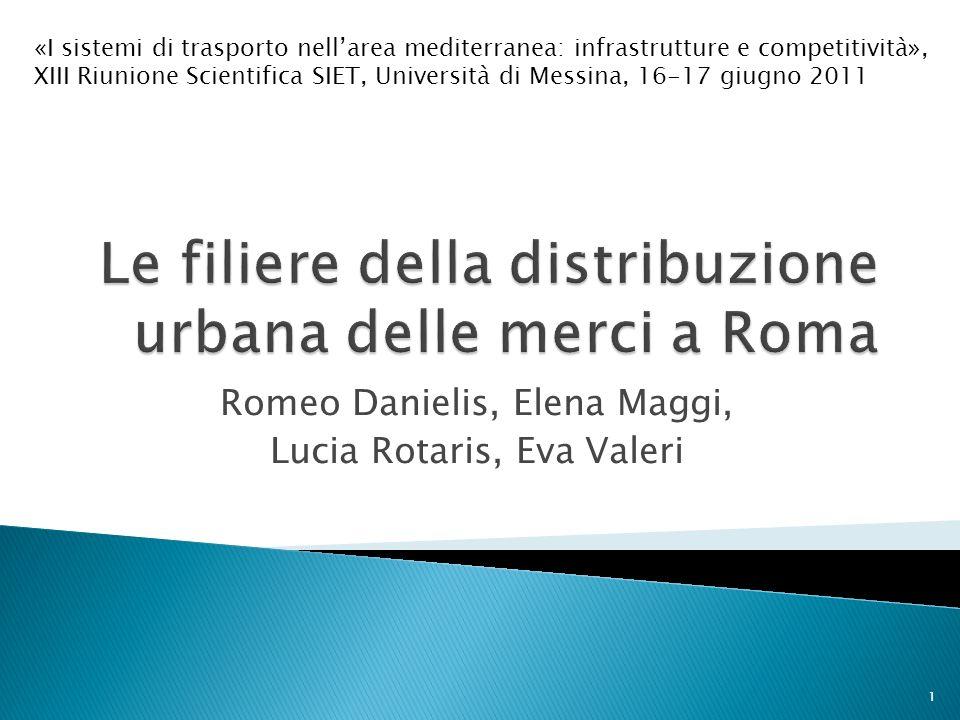 Romeo Danielis, Elena Maggi, Lucia Rotaris, Eva Valeri 1 «I sistemi di trasporto nellarea mediterranea: infrastrutture e competitività», XIII Riunione