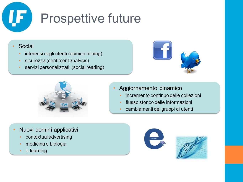 Prospettive future Social interessi degli utenti (opinion mining) sicurezza (sentiment analysis) servizi personalizzati (social reading) Aggiornamento