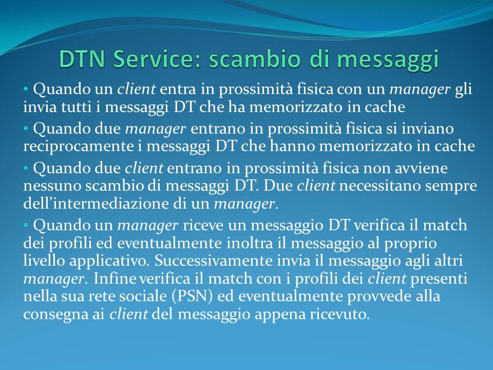 Quando un client entra in prossimità fisica con un manager gli invia tutti i messaggi DT che ha memorizzato in cache Quando due manager entrano in pro