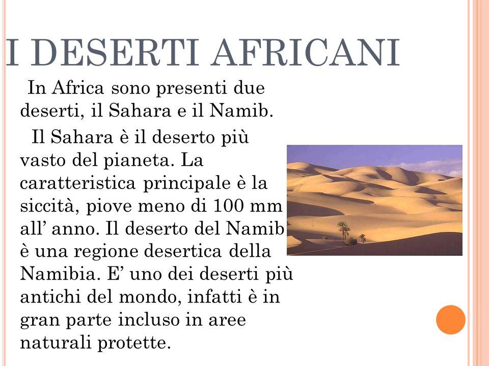 I DESERTI AFRICANI In Africa sono presenti due deserti, il Sahara e il Namib. Il Sahara è il deserto più vasto del pianeta. La caratteristica principa