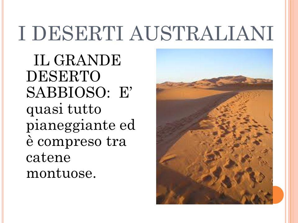 I DESERTI AUSTRALIANI IL GRANDE DESERTO SABBIOSO: E quasi tutto pianeggiante ed è compreso tra catene montuose.