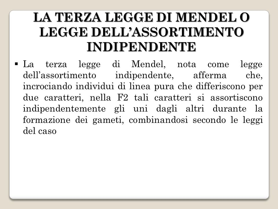 LA TERZA LEGGE DI MENDEL O LEGGE DELLASSORTIMENTO INDIPENDENTE La terza legge di Mendel, nota come legge dellassortimento indipendente, afferma che, i