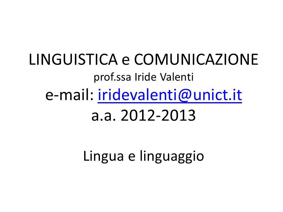 LINGUISTICA e COMUNICAZIONE prof.ssa Iride Valenti e-mail: iridevalenti@unict.it a.a. 2012-2013 Lingua e linguaggioiridevalenti@unict.it