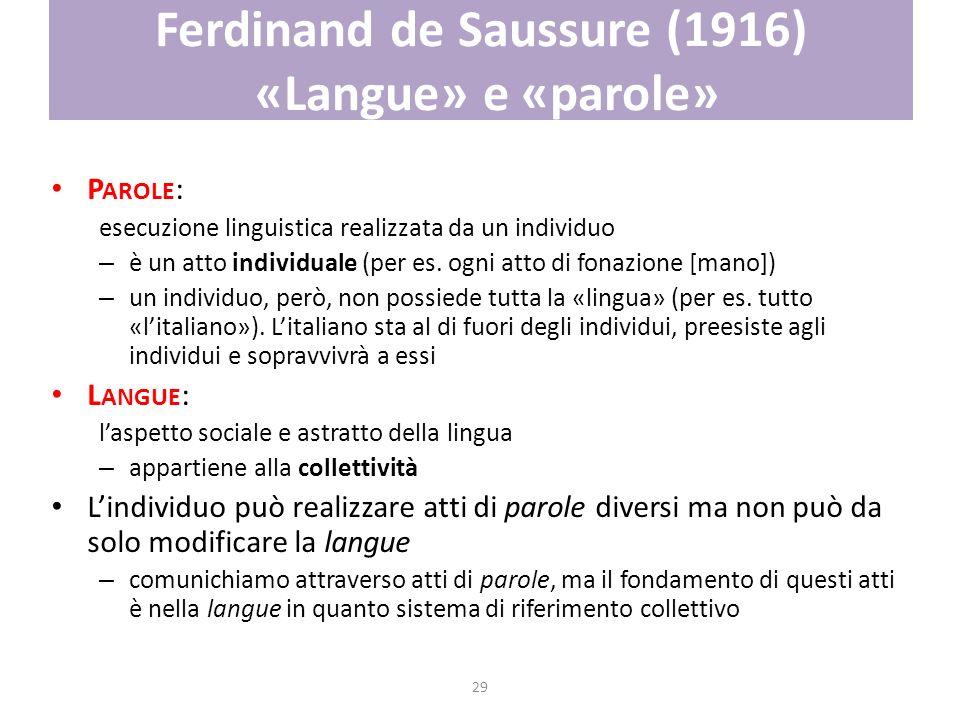 29 Ferdinand de Saussure (1916) «Langue» e «parole» P AROLE : esecuzione linguistica realizzata da un individuo – è un atto individuale (per es. ogni