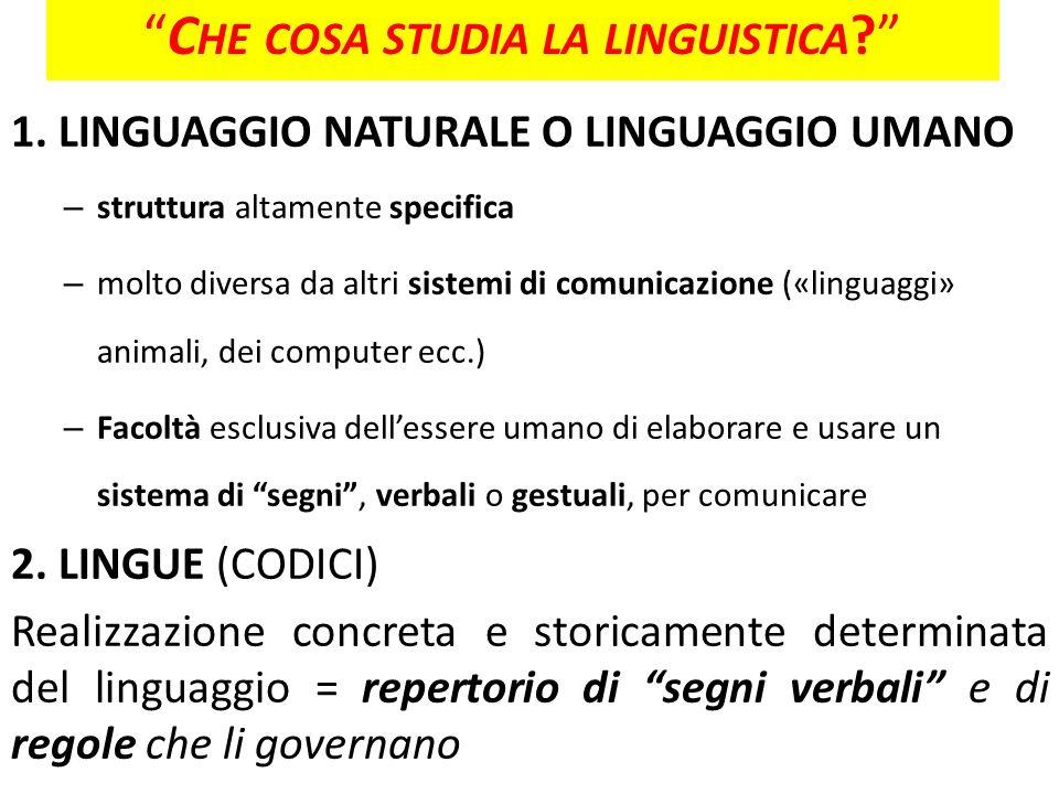 1. LINGUAGGIO NATURALE O LINGUAGGIO UMANO – struttura altamente specifica – molto diversa da altri sistemi di comunicazione («linguaggi» animali, dei