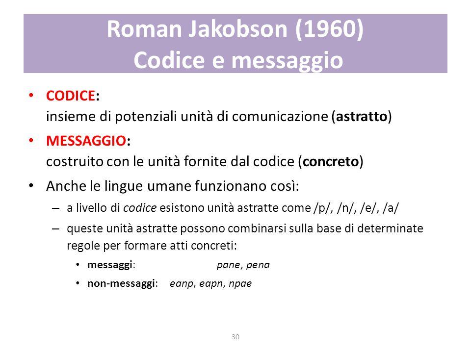 30 Roman Jakobson (1960) Codice e messaggio CODICE: insieme di potenziali unità di comunicazione (astratto) MESSAGGIO: costruito con le unità fornite
