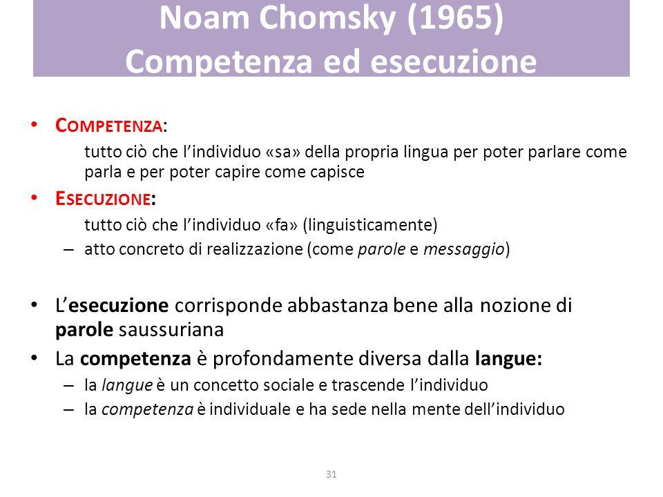 31 Noam Chomsky (1965) Competenza ed esecuzione C OMPETENZA : tutto ciò che lindividuo «sa» della propria lingua per poter parlare come parla e per po