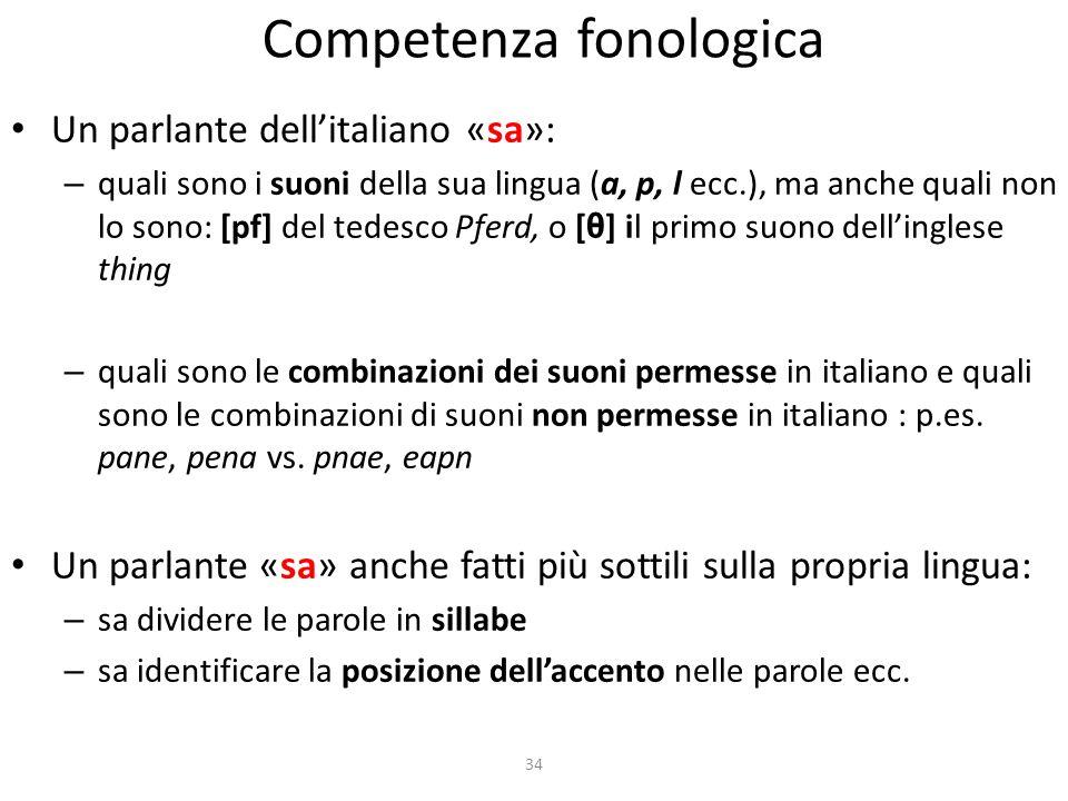 34 Competenza fonologica Un parlante dellitaliano «sa»: – quali sono i suoni della sua lingua (a, p, l ecc.), ma anche quali non lo sono: [pf] del ted