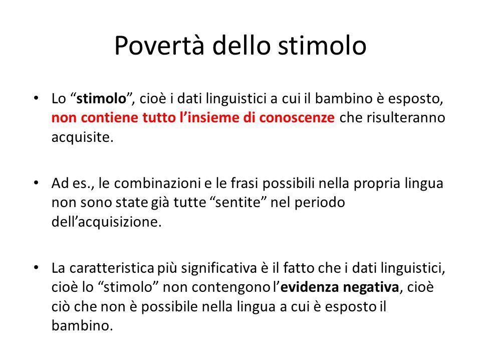 Povertà dello stimolo Lo stimolo, cioè i dati linguistici a cui il bambino è esposto, non contiene tutto linsieme di conoscenze che risulteranno acqui