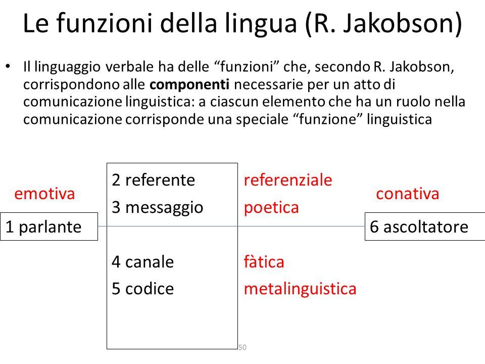 50 Le funzioni della lingua (R. Jakobson) Il linguaggio verbale ha delle funzioni che, secondo R. Jakobson, corrispondono alle componenti necessarie p