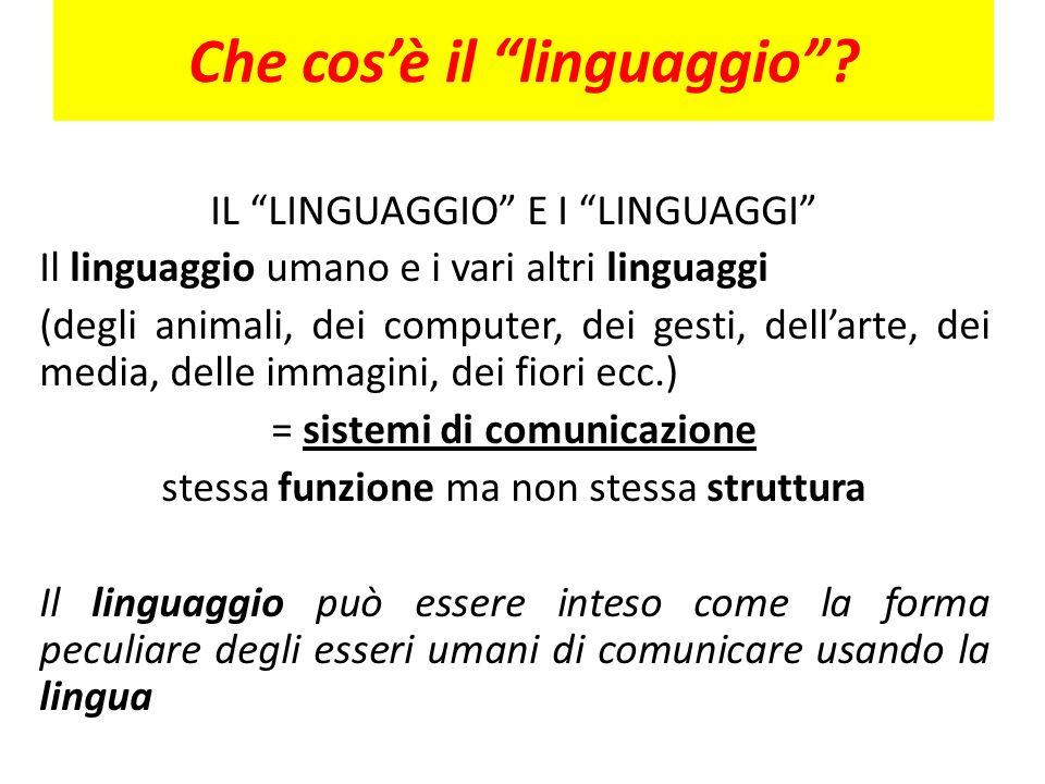 Che cosè il linguaggio? IL LINGUAGGIO E I LINGUAGGI Il linguaggio umano e i vari altri linguaggi (degli animali, dei computer, dei gesti, dellarte, de