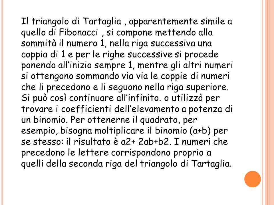 Il triangolo di Tartaglia, apparentemente simile a quello di Fibonacci, si compone mettendo alla sommità il numero 1, nella riga successiva una coppia di 1 e per le righe successive si procede ponendo allinizio sempre 1, mentre gli altri numeri si ottengono sommando via via le coppie di numeri che li precedono e li seguono nella riga superiore.