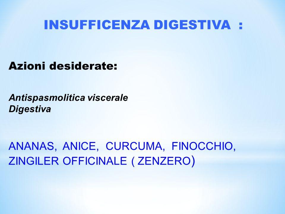 INSUFFICENZA DIGESTIVA : Azioni desiderate: Antispasmolitica viscerale Digestiva ANANAS, ANICE, CURCUMA, FINOCCHIO, ZINGILER OFFICINALE ( ZENZERO )