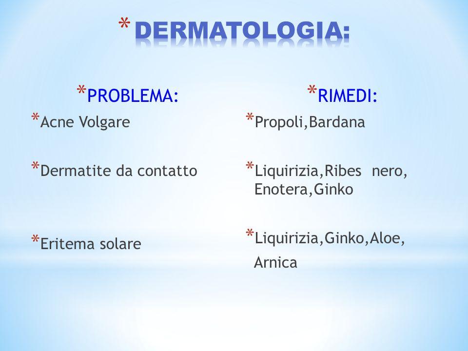 * PROBLEMA: * Acne Volgare * Dermatite da contatto * Eritema solare * RIMEDI: * Propoli,Bardana * Liquirizia,Ribes nero, Enotera,Ginko * Liquirizia,Gi