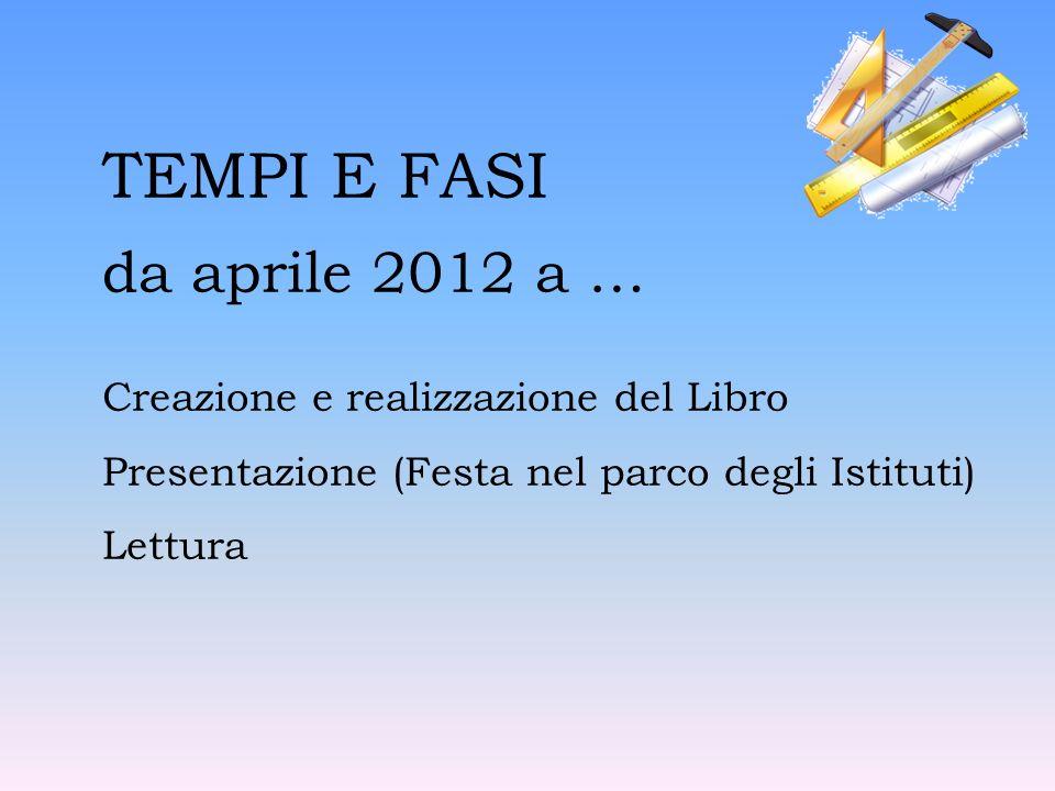 TEMPI E FASI da aprile 2012 a … Creazione e realizzazione del Libro Presentazione (Festa nel parco degli Istituti) Lettura