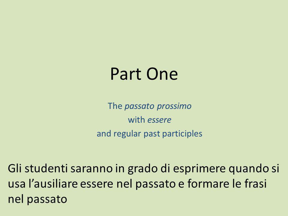 The passato prossimo with essere and regular past participles Part One Gli studenti saranno in grado di esprimere quando si usa lausiliare essere nel
