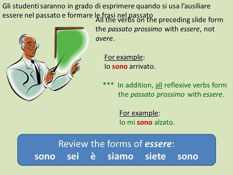 All the verbs on the preceding slide form the passato prossimo with essere, not avere. For example: Io sono arrivato. *** In addition, all reflexive v
