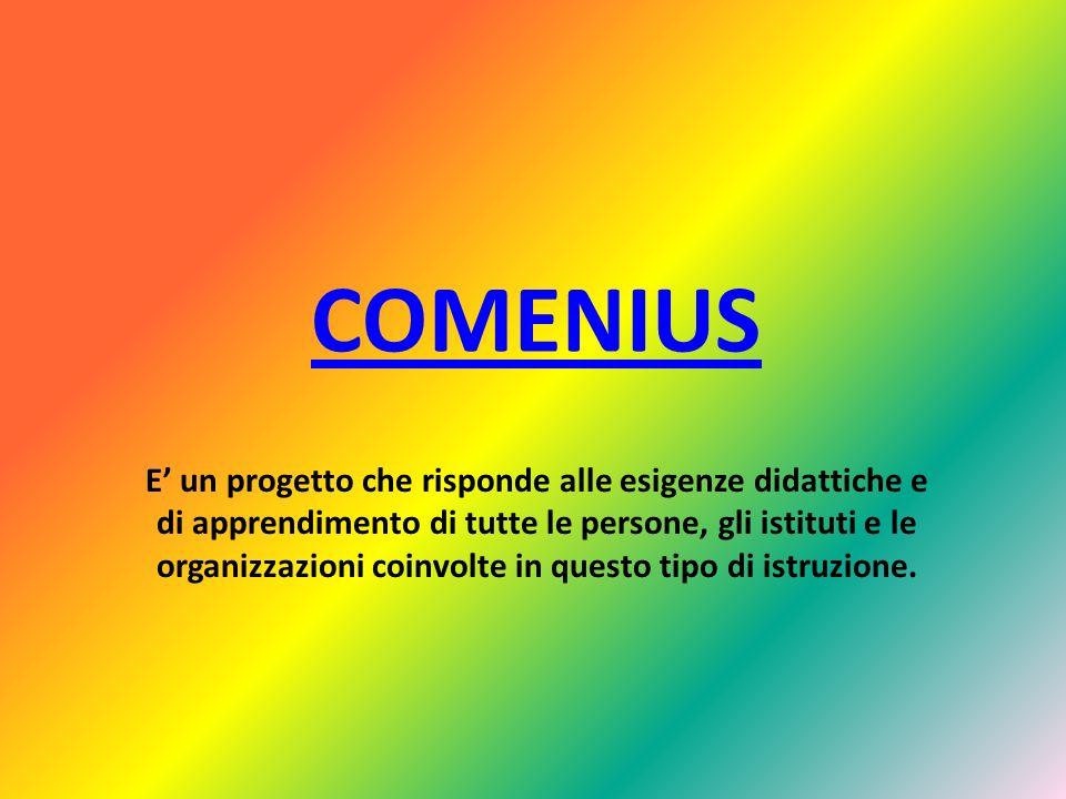 COMENIUS E un progetto che risponde alle esigenze didattiche e di apprendimento di tutte le persone, gli istituti e le organizzazioni coinvolte in questo tipo di istruzione.