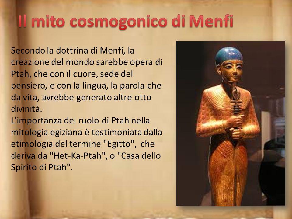 Nella dottrina di Eliopoli si narra che in principio vi fosse Nun, il caos incontrollato. Dal Nun emerse una collinetta dalla quale nacque Atum. Quest