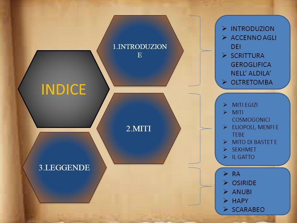 INDICE 1.INTRODUZION E 2.MITI 3.LEGGENDE INTRODUZION ACCENNO AGLI DEI SCRITTURA GEROGLIFICA NELL ALDILA OLTRETOMBA MITI EGIZI MITI COSMOGONICI ELIOPOLI, MENFI E TEBE MITO DI BASTET E SEKHMET IL GATTO RA OSIRIDE ANUBI HAPY SCARABEO
