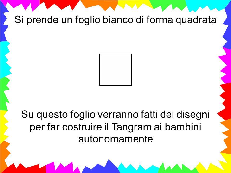 Su questo foglio verranno fatti dei disegni per far costruire il Tangram ai bambini autonomamente Si prende un foglio bianco di forma quadrata