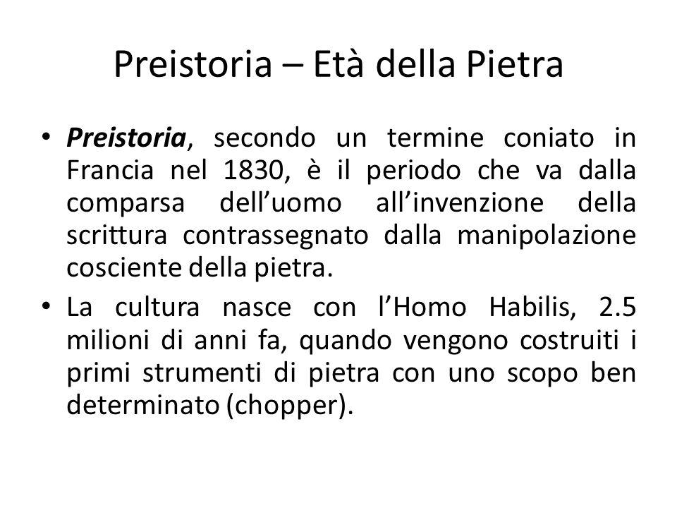 Preistoria – Età della Pietra Preistoria, secondo un termine coniato in Francia nel 1830, è il periodo che va dalla comparsa delluomo allinvenzione de