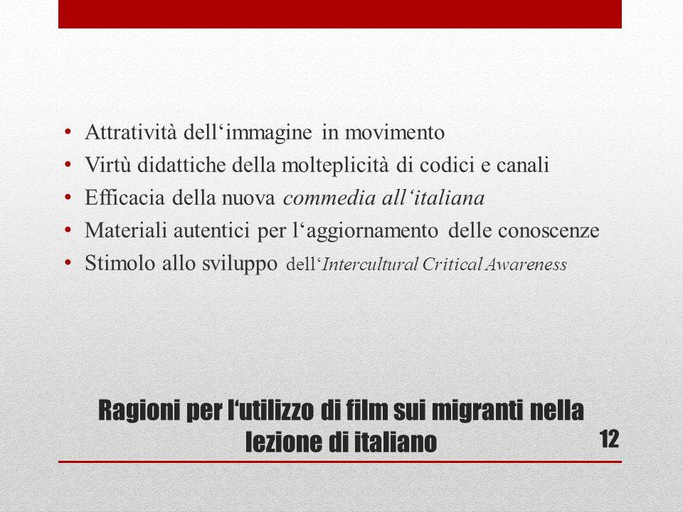 Ragioni per lutilizzo di film sui migranti nella lezione di italiano Attratività dellimmagine in movimento Virtù didattiche della molteplicità di codici e canali Efficacia della nuova commedia allitaliana Materiali autentici per laggiornamento delle conoscenze Stimolo allo sviluppo dellIntercultural Critical Awareness 12