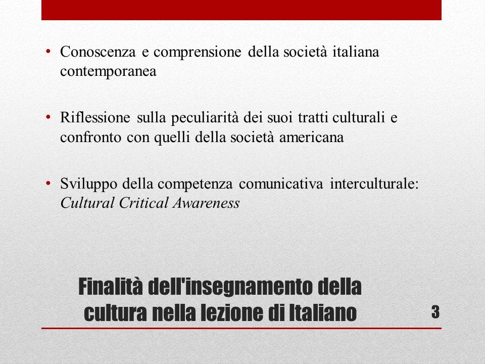 Finalità dell insegnamento della cultura nella lezione di Italiano Conoscenza e comprensione della società italiana contemporanea Riflessione sulla peculiarità dei suoi tratti culturali e confronto con quelli della società americana Sviluppo della competenza comunicativa interculturale: Cultural Critical Awareness 3