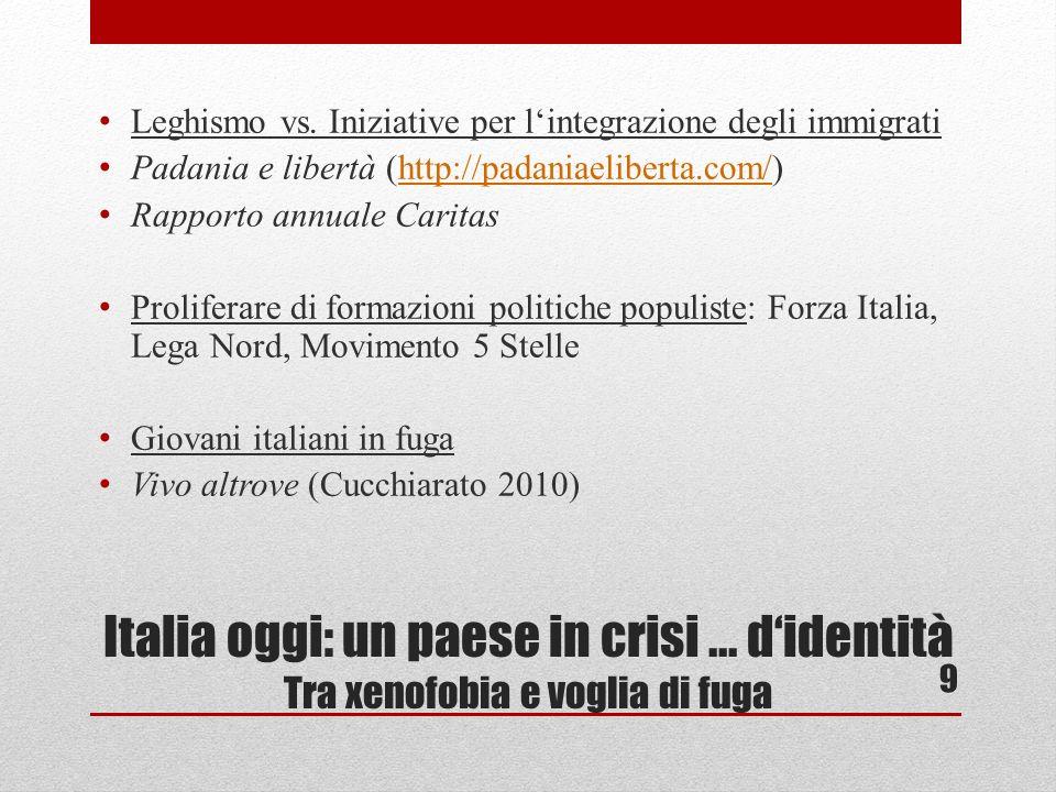 Italia oggi: un paese in crisi... didentità Tra xenofobia e voglia di fuga Leghismo vs.