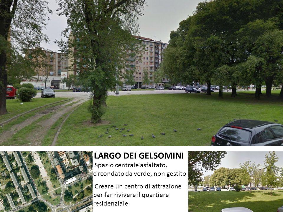 LARGO DEI GELSOMINI Spazio centrale asfaltato, circondato da verde, non gestito Creare un centro di attrazione per far rivivere il quartiere residenziale