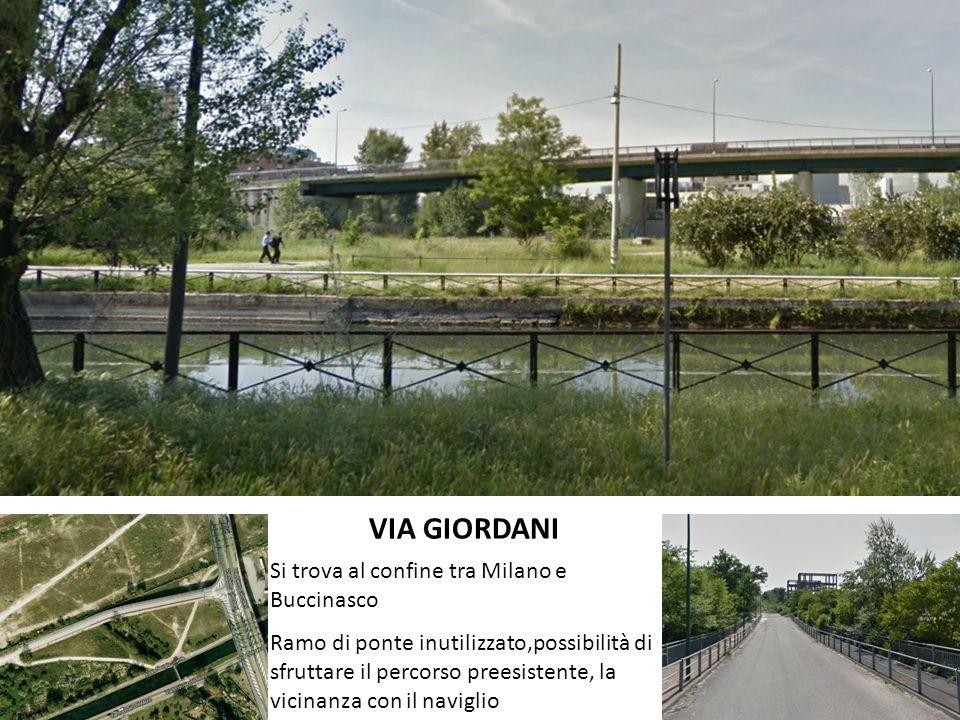 VIA GIORDANI Si trova al confine tra Milano e Buccinasco Ramo di ponte inutilizzato,possibilità di sfruttare il percorso preesistente, la vicinanza con il naviglio