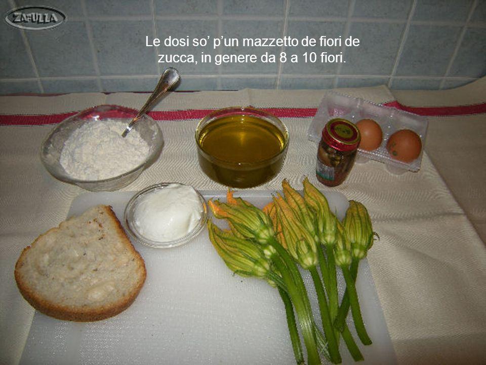 1: fiori di zucca 6: 2 uova 2: mozzarella 7: olio doliva 3: fetta di pane 8: latte 4: farina 9: sale 5: alici diliscate 10: lievito