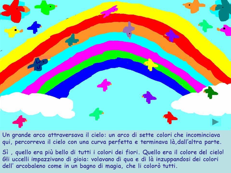 Un grande arco attraversava il cielo: un arco di sette colori che incominciava qui, percorreva il cielo con una curva perfetta e terminava là,dallaltra parte.