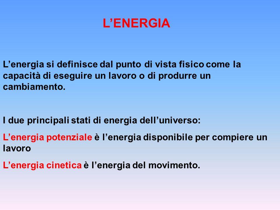 LENERGIA Lenergia si definisce dal punto di vista fisico come la capacità di eseguire un lavoro o di produrre un cambiamento. I due principali stati d