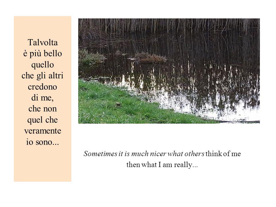 Talvolta è più bello quello che gli altri credono di me, che non quel che veramente io sono... Sometimes it is much nicer what others think of me then