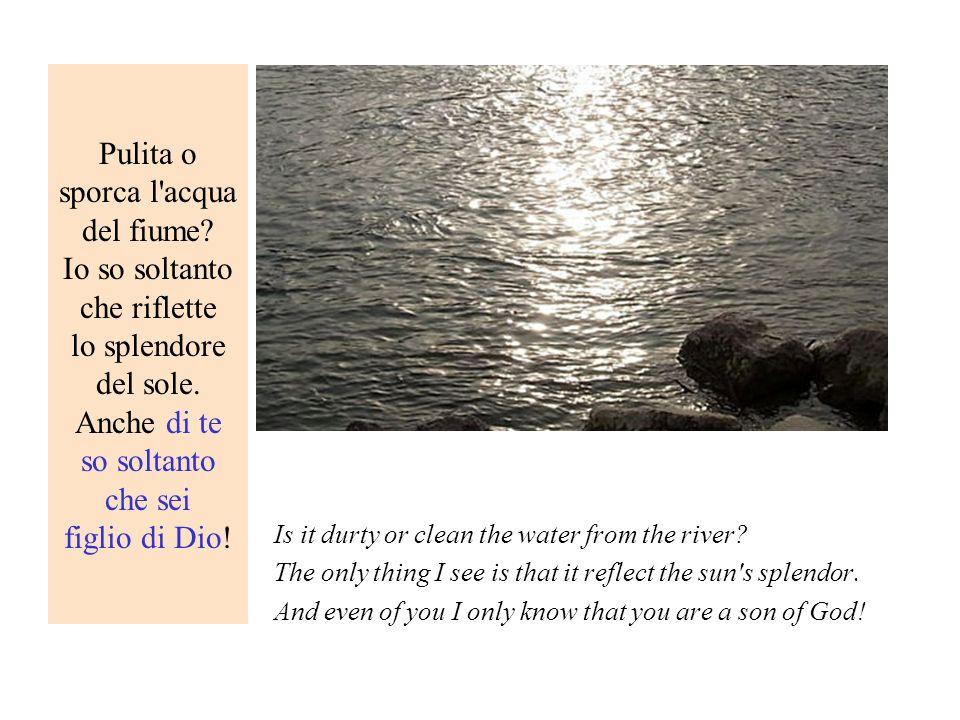 Pulita o sporca l'acqua del fiume? Io so soltanto che riflette lo splendore del sole. Anche di te so soltanto che sei figlio di Dio! Is it durty or cl
