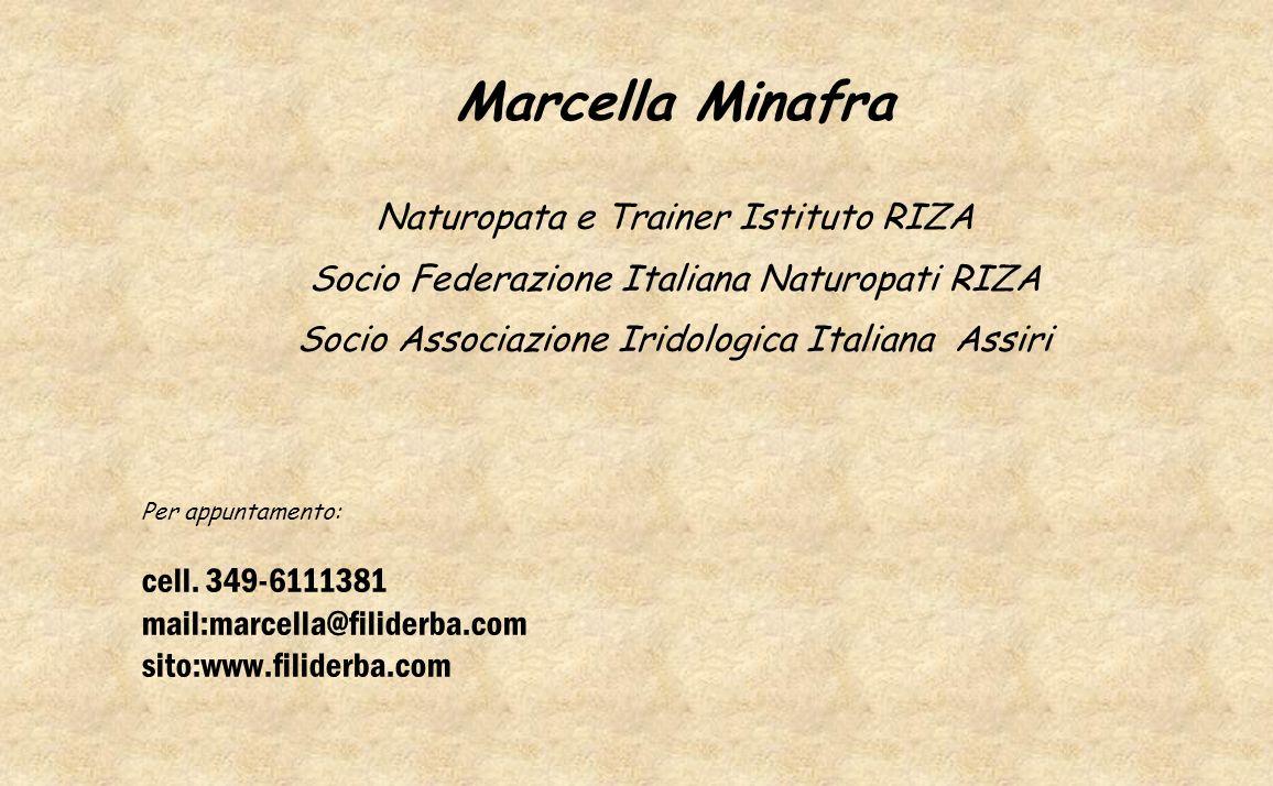 Marcella Minafra Naturopata e Trainer Istituto RIZA Socio Federazione Italiana Naturopati RIZA Socio Associazione Iridologica Italiana Assiri Per appu