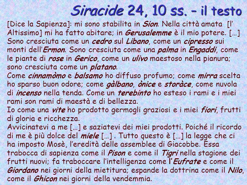 Siracide 24, 10 ss. – il testo [Dice la Sapienza]: mi sono stabilita in Sion. Nella città amata [l Altissimo] mi ha fatto abitare; in Gerusalemme è il