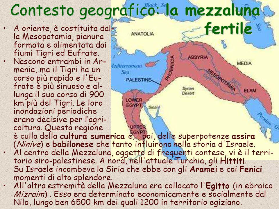 Contesto geografico: la mezzaluna fertile A oriente, è costituita dal- la Mesopotamia, pianura formata e alimentata dai fiumi Tigri ed Eufrate.